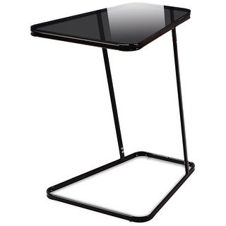 Gymax Modern C Shape Glass Steel End Table Accent Side