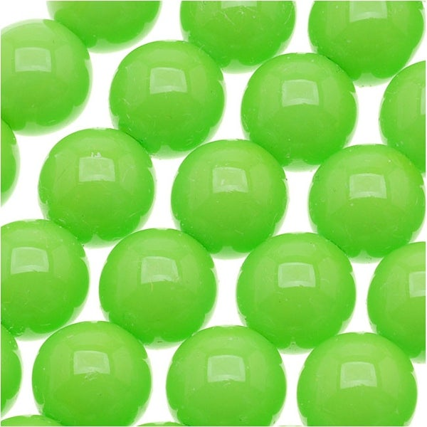 Czech Glass Round Party Beads 8mm - Neon Green (1 Strand / 22 Beads)