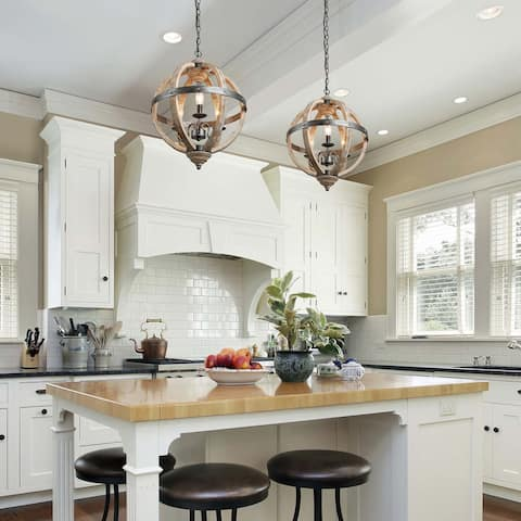"The Gray Barn Ridge Farmhouse Pendant Lighting with Distressed Wood for Kitchen Island - W 15.7""x H 21.5"""