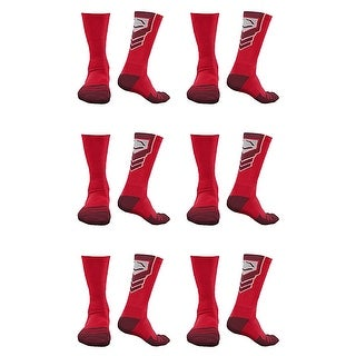 EvoShield Performance Crew Socks Red with Red Large (6 pack)