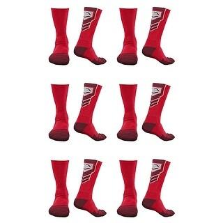 EvoShield Performance Crew Socks Red with Red Medium (6 pack)