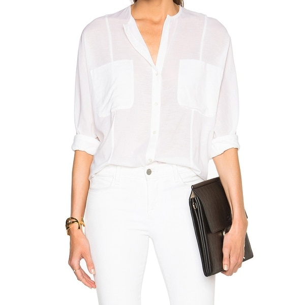 503c23926 James Perse NEW White Womens Size 0 Sheer Pocket Button Down Shirt Top