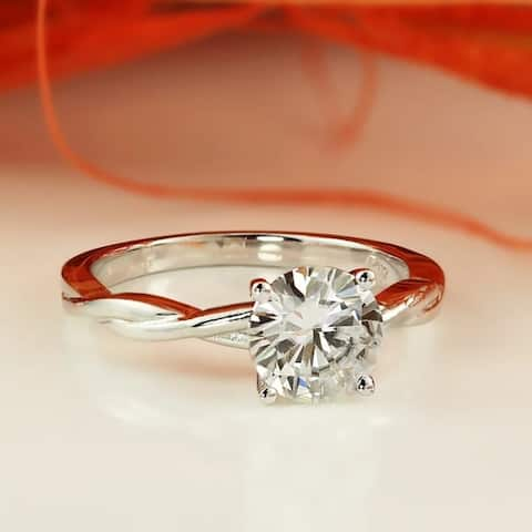 Auriya 14k Gold Twisted 1ctw Solitaire Moissanite Engagement Ring