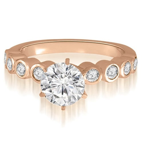0.70 cttw. 14K Rose Gold Bezel Set Round Cut Diamond Engagement Ring