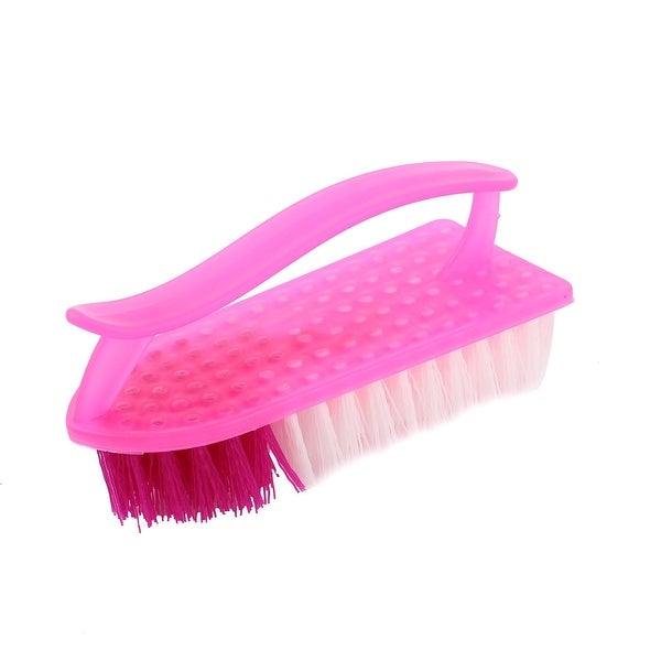 Household Plastic Handgrip Clothes Shoe Boot Washing Scrubbing Brush Scrub Fuchsia