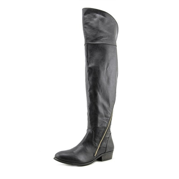 Report Signature Gwyneth Women Round Toe Leather Black Over the Knee Boot