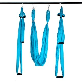 AGPtEK Deluxe Aerial Yoga Hammock Yoga Inversion Sling Trapeze for Aerial Yoga, Flying Antigravity-Blue