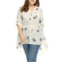 Allegra K  Women's Plus Size High Low Hem Sheer Floral Chiffon Tunic Top - Off White