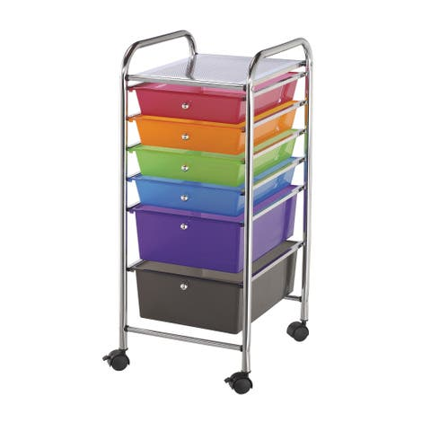 Alvin sc6mc storage cart 6-drawer (standard and deep) multi-colored
