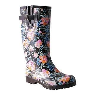 Nomad Women's Drench Rain Boot Black/Pink Roses
