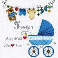 """It's A Boy! Birth Record Counted Cross Stitch Kit-8""""X8"""" 28 Count"""