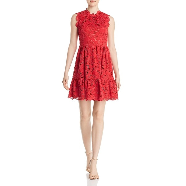 Red Poppies Field Sleeveless Dress Flared Short