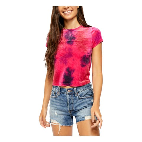 FREE PEOPLE Womens Pink Tie Dye Short Sleeve Crop Top Top Size XS