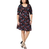 Fox & Royal Womens Plus Casual Dress Scoop Neck Knee-Length