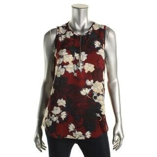 Aqua Womens Sheer Floral Print Pullover Top