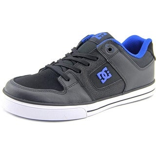 DC Shoes Pure Elastic Youth Round Toe Leather Black Skate Shoe