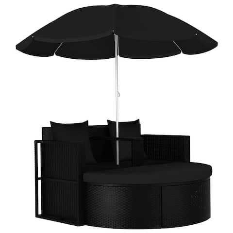 vidaXL Garden Bed with Parasol Poly Rattan Black