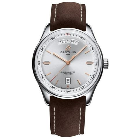 Breitling Men's A4534021-G846-505X 'Premier' Brown Leather Watch - Silver