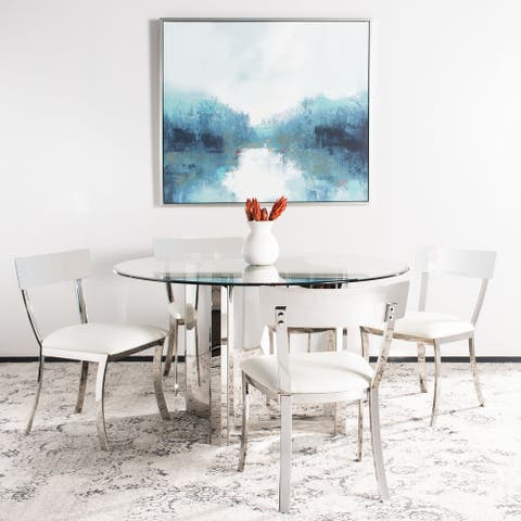 """SAFAVIEH Dining Abby Glam White/ Silver Chrome Dining Chair (Set of 2) - 18.5"""" x 21.9"""" x 33.3"""""""