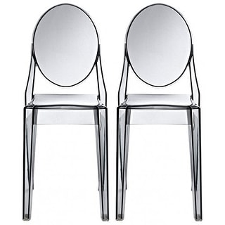2xhome -Set of 2, Smoke Transparent Plastic Dining Chairs Modern Designer Stackable Accent