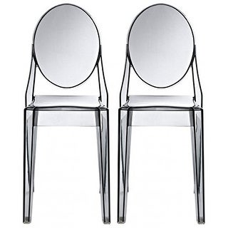Link to 2xhome -Set of 2, Smoke Transparent Plastic Dining Chairs Modern Designer Stackable Accent Similar Items in Dining Room & Bar Furniture