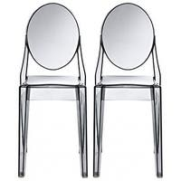 2xhome -Set of 2, Smoke Transparent Plastic Dining Chairs Modern Designer Chair Stackable Chairs Accent Chairs