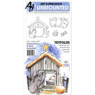 "Art Impressions Mini Try'folds Cling Rubber Stamps 10""X4.5""-Nativity"