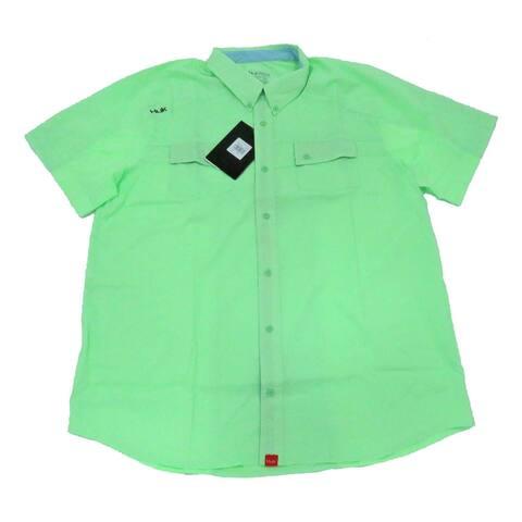 Huk Men's Next Level Key Lime Small Button Down Short Sleeve Shirt