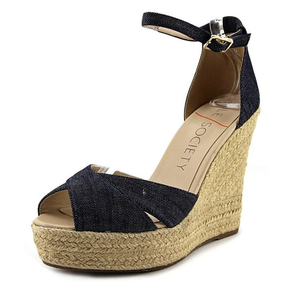 Sole Society Louanna Women Open Toe Canvas Blue Wedge Sandal