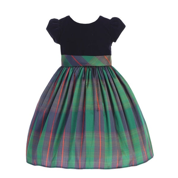 Lito Little Girls Black Velvet Blue Green Plaid Sash Christmas Dress. Opens flyout.