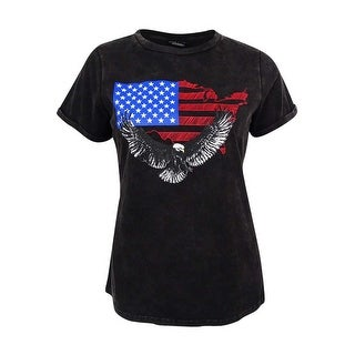 City Chic Women's Plus Size USA Graphic T-Shirt - Gunmetal