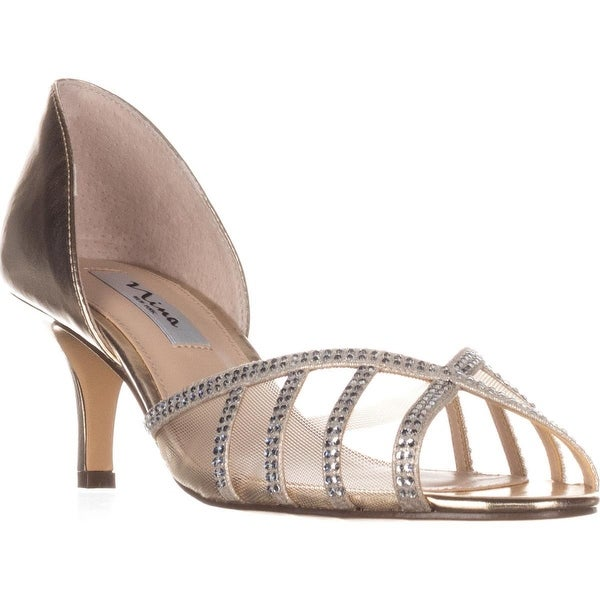 Nina Corita Peep Toe Kitten Heels, Soft Gold Metallic - 9 us / 39 eu