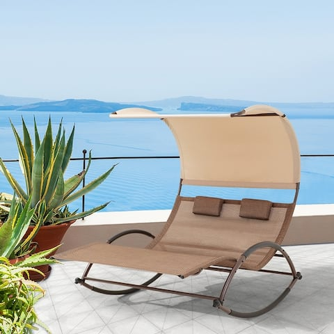 """VredHom Outdoor Double Chaise Lounge Rocking Bed - 67.3"""" L x 54.5"""" W x 65.7"""" H"""