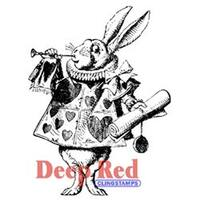 """White Rabbit - Deep Red Cling Stamp 2.5""""X3"""""""