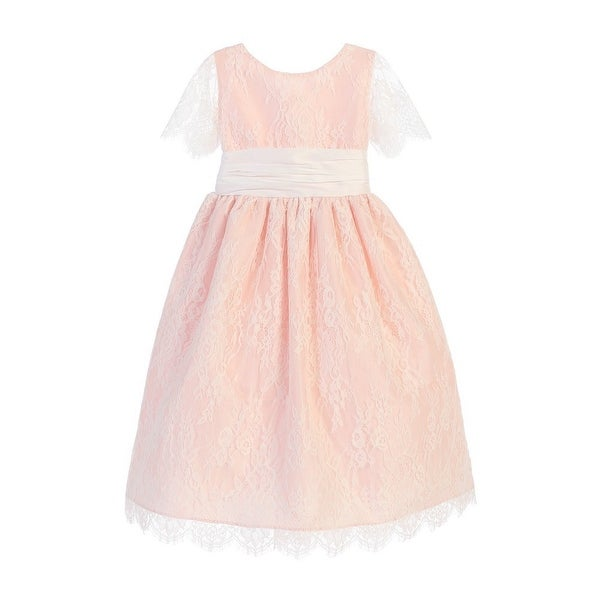 Sweet Kids Little S Blush French Lace Dupioni Flower Dress