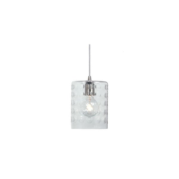 """JVI Designs 1300-15-G10 Grand Central 1 Light 8.5"""" Tall Pendant with Hammered Column Mouth-Blown Glass Shade - Polished Nickel"""