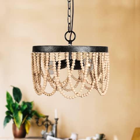 Industrial 2-Light Wood Beaded Chandelier Pendant Light