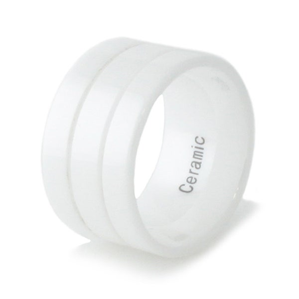 12mm White Ceramic Ring w/ Dual Groove Strip