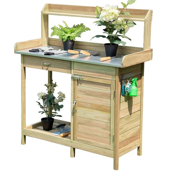 Costway Outdoor Potting Bench Garden Wooden Work Station Metal Tabletop Cabinet Drawer Natural