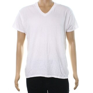 Hanes NEW White Mens Size Large L V Neck Short Sleeve Tee T-Shirt