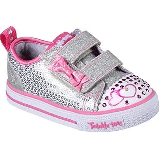 Skechers Twinkle Toes Shuffles Itsy Bitsy Girls Light Up Sneakers Silver/Hot Pink 12
