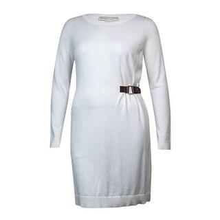 Michael Kors Women's Knit Buckled Side Sweater Dress (XL, Cream)