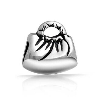 Bling Jewelry Clutch Handbag Oxidized Bead Charm .925 Sterling Silver