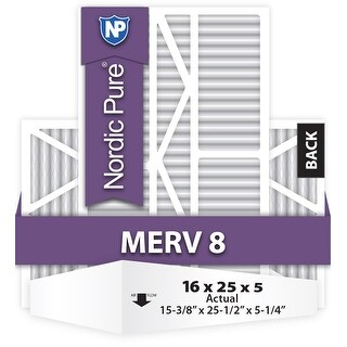 Nordic Pure 16x25x5 1/4 (16x25x5.25) Goodman/Carrier/Amana Replacement MERV 8 Qty 1