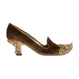 Dolce & Gabbana Dolce & Gabbana Beige Velvet Gold Crystal Pumps