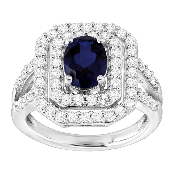 2 5/8 ct Created Blue & White Sapphire Tile Ring in Sterling Silver