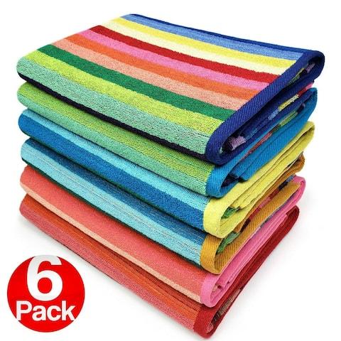 "Kaufman-6 Pack-Beach Terry Royal Stripe Towel.Assorted Color Cotton - 30""x 60"""