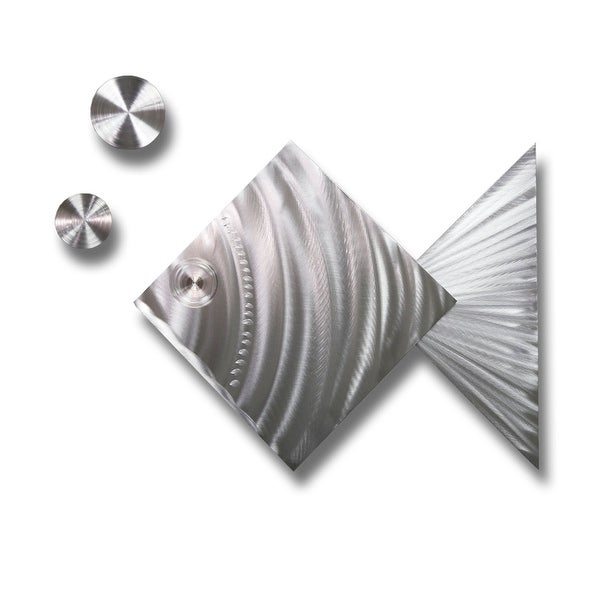 Statements2000 Set of 3 Silver Fish & Bubbles Metal Wall Art Accent by Jon Allen - Island Time Silver Fish
