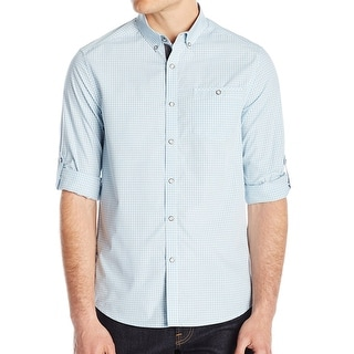 Kenneth Cole Reaction NEW Blue Mens Large L Checkered Button Down Shirt