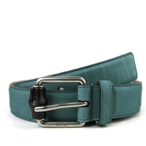 ffb308327c6 Gucci Men s Leather Suede Bamboo Buckle Belt 336827